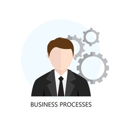 Business process analytics flat icon vector