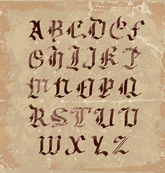 Hand drawn letters gothic style alphabet on vector image vector image