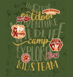 the great outdoor wildlife kids camp vector image vector image