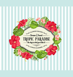 tropical flower frame with place for invitation vector image vector image