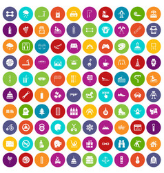 100 children activities icons set color vector