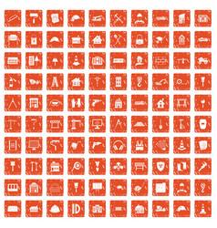 100 construction icons set grunge orange vector