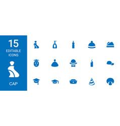 15 cap icons vector