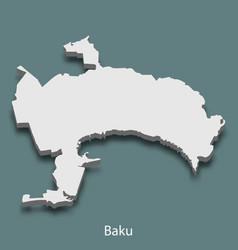 3d isometric map of baku is a city of azerbaijan vector