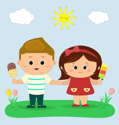 a boy and a girl are holding ice cream glade with vector image
