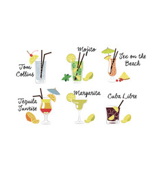 Alcoholic cocktails set tom collins mojito sex vector