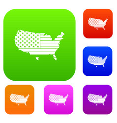 american map set color collection vector image