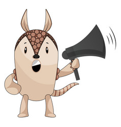 armadillo with megaphone on white background vector image