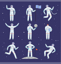 Astronauts characters spaceman people in action vector