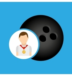 Athlete medal bowling ball icon graphic vector