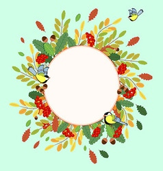 Autumn ornament from Rowan leaves nuts and birds vector