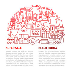 black friday line template vector image
