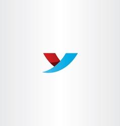 Blue red icon letter y logo y symbol design vector