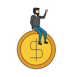 businessman sitting on dollar coin vector image