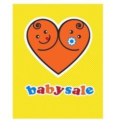 card of smiling baby boy and girl arranged vector image