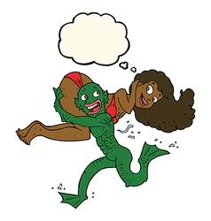 Cartoon swamp monster carrying girl in bikini with vector