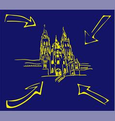Cathedral santiago de compostela with yellow vector