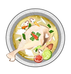 Chicken Tom Yum or Thai Sour Soup with Chicken vector
