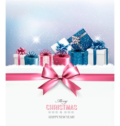 Christmas gift boxes in snow vector image