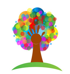 colorful tree and hand abstract symbol vector image