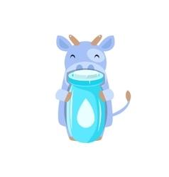 Cow Holding Plastic Milk Bottle vector