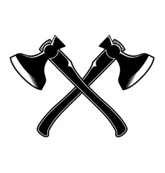 Crossed lumberjack hatchets in engraving style vector