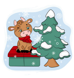 Cute bull with gift and christmas tree vector