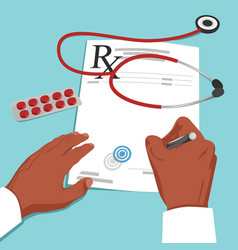 Doctor hands writing prescription on paper vector