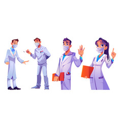 doctors and nurses medical staff in face masks vector image