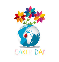 earth day symbol with ladybug on globe and vector image