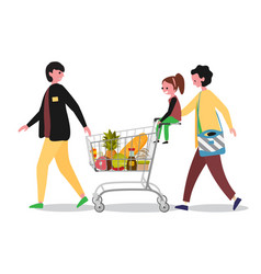 family doing shopping in supermarket with shopping vector image