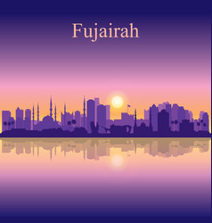 Fujairah silhouette on sunset background vector