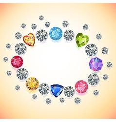 Gems oval frame vector