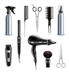 hairdresser tools realistic set vector image