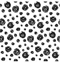hand drawn pattern with black round elements vector image