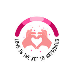 hand is a gesture of heart love is the key to vector image