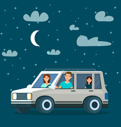 happy family going by car at night time traveling vector image