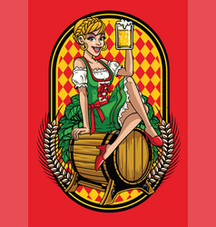 happy girl of oktoberfest vector image