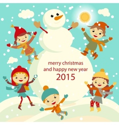 Happy kids playing with snow retro christmas card vector image