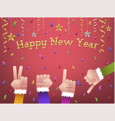 happy new year 2019 shaped hands vector image
