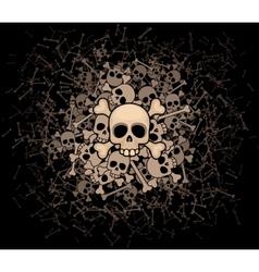 Heap of skulls and bones vector image