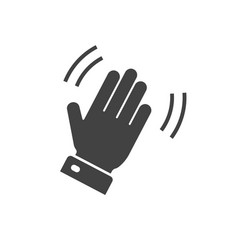 Hello hi hand icon or bye waving gesture palm vector