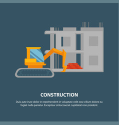 Home construction with yellow excavator graphic vector