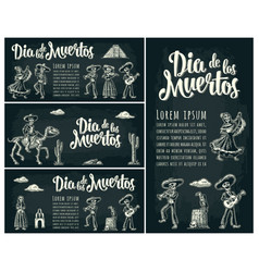 Horizontal poster for day of the dead dia de los vector