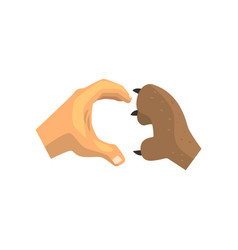 Human hand and dog paw making heart gesture vector
