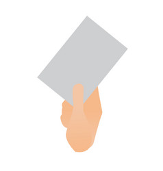 Human hand holding a blank paper sheet vector
