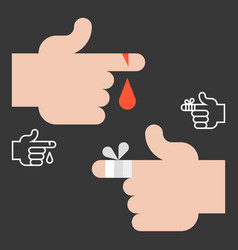 Hurts finger with blood and bandage vector