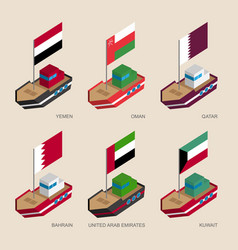 Isometric ships with flags of gulf countries vector
