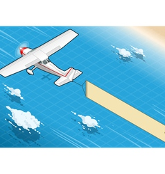 Isometric White Plane in Flight with Aerial Banner vector image