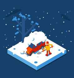 Isometric winter man digs car out of snow vector
